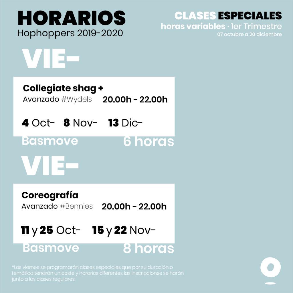 Horarios escuela de swing Granada 2019-20 viernes