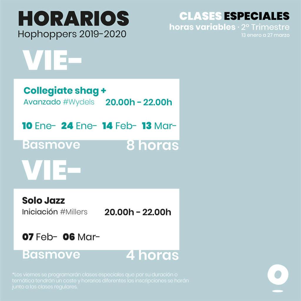 Horarios Hophop Swing segundo trimestre viernes y sábados 2019, Academia de swing en Granada
